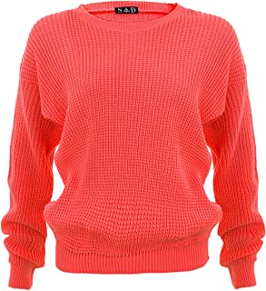 91fa0b1fd86f3a Style Divaa ZEE Fashion Ladies Chunky Knitted Baggy Jumper Sizes 8-18