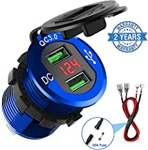 Quick Charge 3.0 Car Charger, CHGeek 12V/24V 36W Waterproof Aluminium Dual QC3.0 USB Fast Charger Socket Power Outlet with LED Digital Voltmeter for Marine, Boat, Motorcycle, Truck, Golf Cart and More