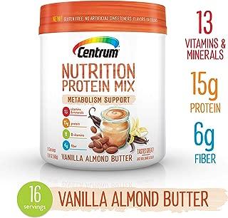 Centrum Nutrition Protein Mix Metabolism Support, Vanilla Almond Butter Flavor   Gluten Free, Vitamins, Minerals, B Vitamins, Fiber   19.9 Oz., 16 Servings
