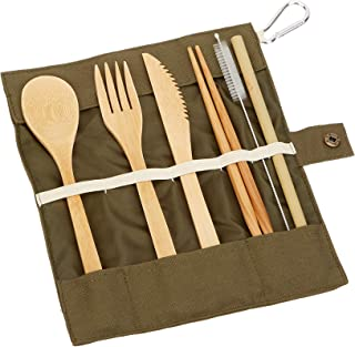 Hatos Bamboo Cutlery Set - Camping Outdoor Convenient Environmental Tableware Convenient Travel Set - Bamboo spoon, fork, knife, brush, chopsticks can be reused
