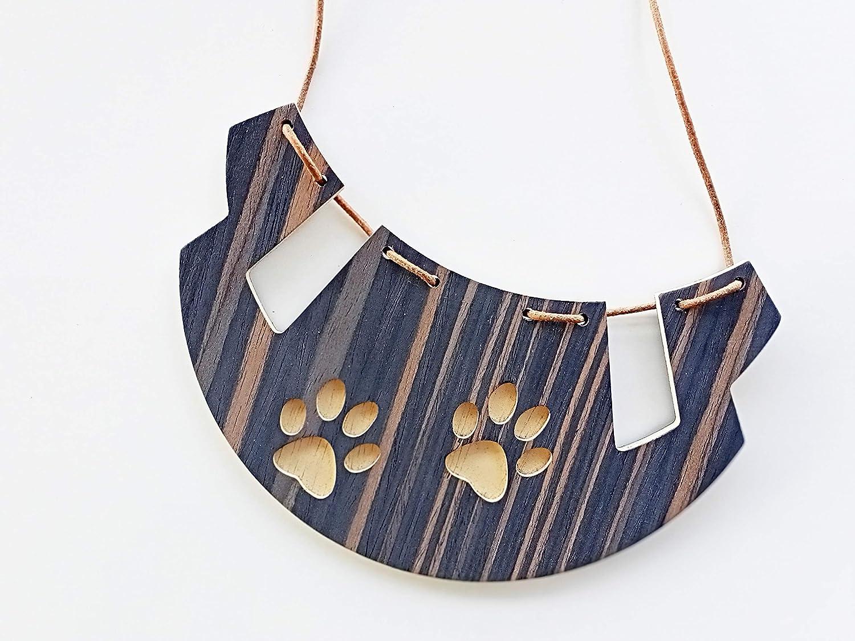 Paw necklace from Ebony wood 5 ☆ very popular pet handmade Sale jewelry for Original