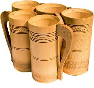 DC ECO Bamboo Made Mug & Cups from Natural Bamboo Tree Set of 5 (Hand Made)