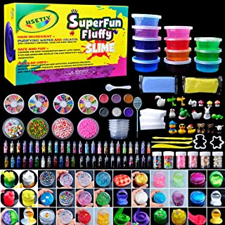Eswutt Super Slime Kit - 7 Colors Slime ,3 Floam Slime ,2 Clear Slime with 6 pack Colorful Foam Balls, 6 different kind of Fresh Face Decoration, 3 Animal Accessories1, 1 pile of Pearls and Conch Gar
