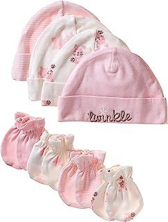 کلاه ارگانیک 8 قطعه دخترانه Gerber Baby و مجموعه Mitten