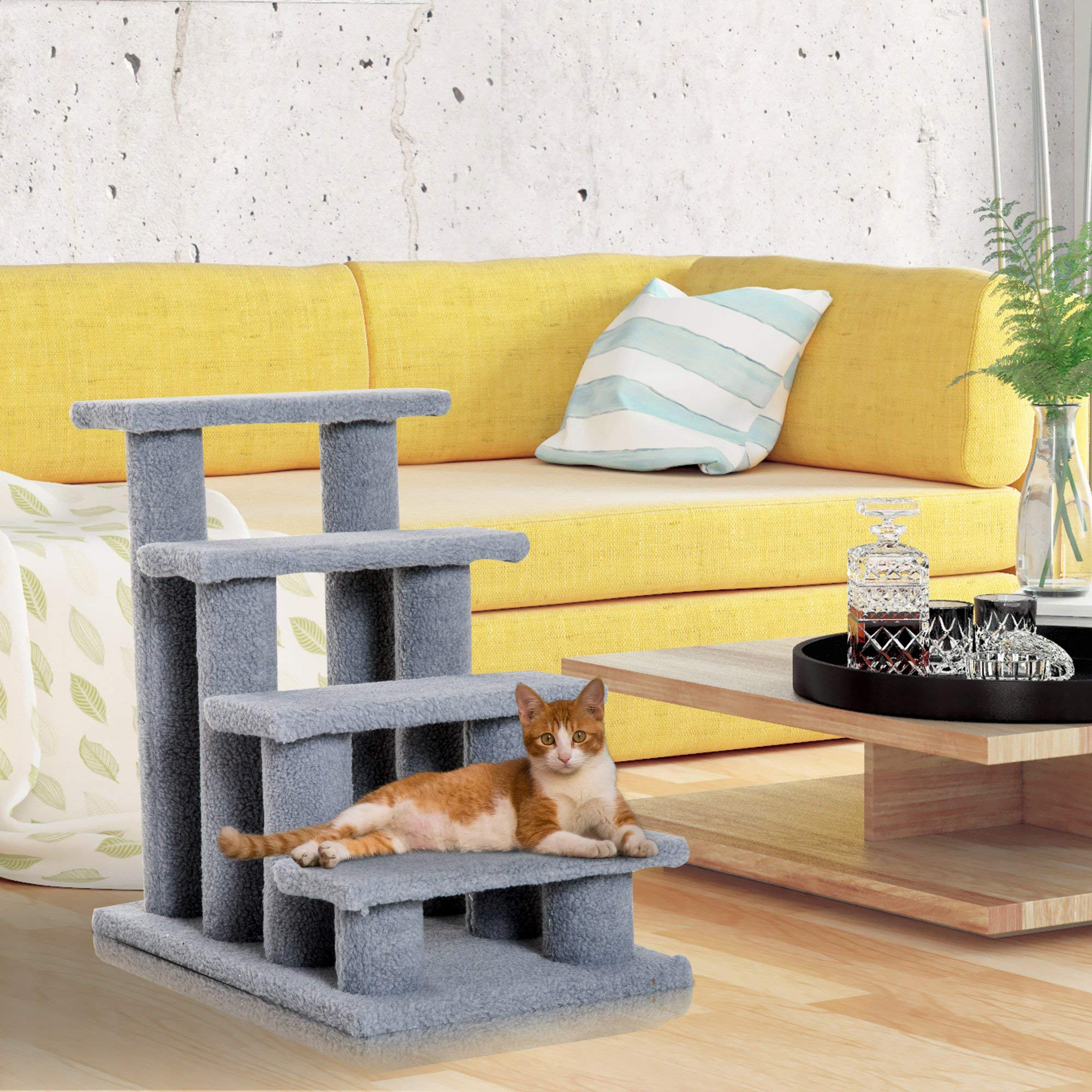 Festnight - Escalera para Gatos con 4 escalones, Color Gris, 61 cm: Amazon.es: Juguetes y juegos