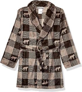 Komar Kids Big Boys Velvet Fleece Robe, Grey Plaid, XS
