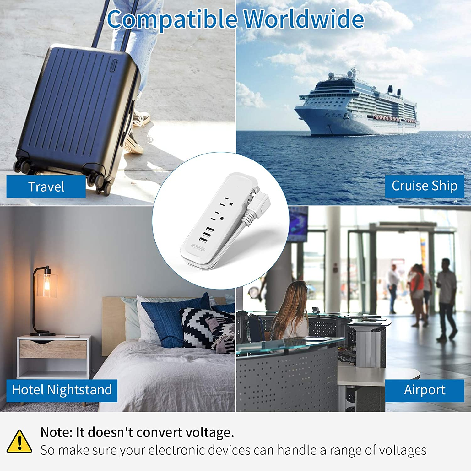 Travel Power Strip with USB - NTONPOWER 2 Outlets 3 USB Portable Desktop Charging Station, 15 inches Wrapped Short Extension Cord for for Hotels, Cruise, Nightstand, Airports, Conference Room - White