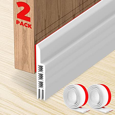 Door Bottom Seal White 1.7 W x 39 L 1 pcs Weatherproof Door Seal Stripping 5M Aufisi 2 pcs Strong Adhesive Door Draft Stopper Door Sweep Blocker for Soundproof Under Door Seal
