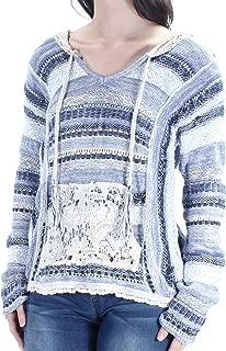 $69 Womens New 1606 Blue Striped Pocket Lace Sweater XS Juniors B+B
