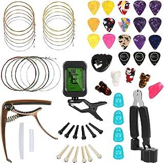 Hricane Guitar Accessories Kit With Guitar Strings, Tuner, Capo, String Winder&Cutter, Picks, Pick Holder, Bridge Pins, Gu...