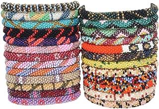 Random Mix of 12 Crochet Glass Seed Bead Bracelets (ONE Dozen) Nepal Bracelet