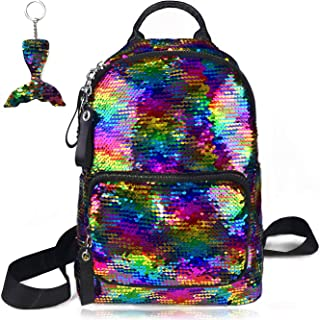 Sequin Backpack Reversible Flip Magic Glittering Shining Rainbow Mermaid School Travel Shoulder Bag with Key Chain Sports ...