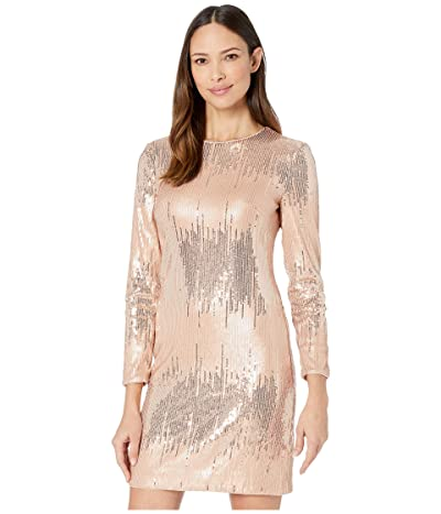 Vince Camuto Sequin Long Sleeve T-Body Dress (Blush) Women