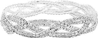 Rhinestone Stretch Bracelet for Women Girls Silver Plated...