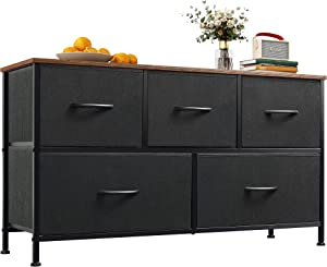 WLIVE Dresser with 5 Drawers, Dressers for Bedroom, Fabric Storage Tower, Hallway, Entryway, Closets, Sturdy Steel Frame, Wood Top, Easy Pull Handle, Rustic Brown, Black