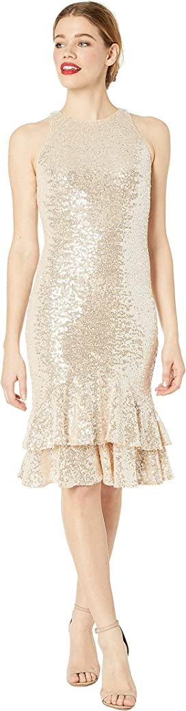 06bc9b2a Solid Cotton Metal Plunge Dress. $258.00MSRP: $430.00. Two Tier Sequin