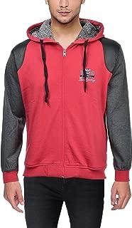 Louis Carlo Men's Sweatshirt, Fleece, Lightweight, Zip Front, Hooded (United Colors Leather Black, Imperial Red, 38, 40, 42, 44)