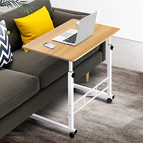 Mobile Laptop Desk Adjustable Height 360°Rotation Wooden Table Top Metal Frame Notebook Computer Stand Up Cart Study ...