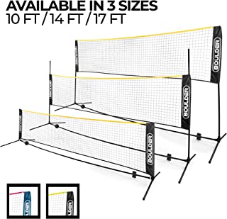 Boulder Portable Badminton Net Set - Net for Tennis, Soccer Tennis, Pickleball, Kids Volleyball - Easy Setup Nylon Sports Net with Poles - for Indoor or Outdoor Court, Beach, Driveway (Renewed)