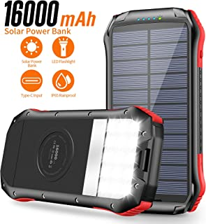 Solar Charger, Portable Charger 16000mAh, Solar Power Bank External Backup Battery USB Type-C Ports, Waterproof Solar Phone Charger Panel Charging for Smartphones, 15 LED Flashlights for Outdoor photo