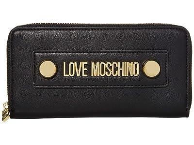 LOVE Moschino Love Logo Stud Zip Wallet (Black Small Grain PU) Handbags