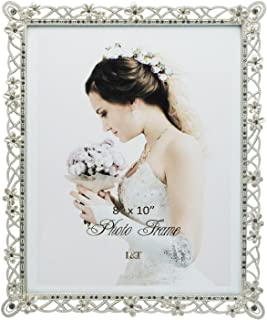 L&T Wedding Picture Frame Silver Metal with White Flowers and Crystals 8 x10 Inch