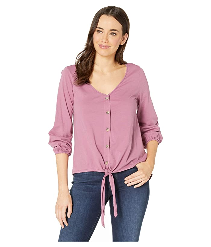 Mod-o-doc 3/4 Sleeve Tie Button Front Tee in Supreme Jersey (Purple Rose) Women