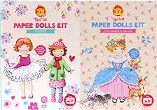 Schylling Tiger Tribe Deluxe Portable Play Paper Dolls Activity Kits Featuring Princesses & Belles & Vintage Gift Set Bundle - 2 Pack