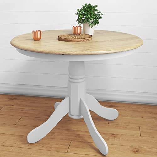 Rhode Island Round Pedestal Dining Table In White 4 Seater