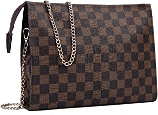 Checkered Crossbody Bag for Women Shoulder Bag with Chain Strap
