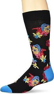 Men's Mercerized Cotton Birds and Blossom Floral Pattern Sock