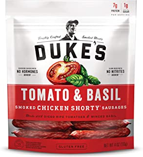 Duke's Tomato & Basil Chicken Smoked Shorty Sausages, Keto Friendly, 4 oz. (Pack of 8)