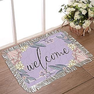 """DecorLovee Doormat for Outdoor Entrance 16""""x24"""" Non Slip Rubber Back Tassel Front Door Rugs for Indoor Purple Striped Ratt..."""