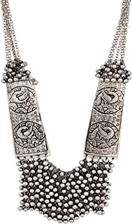 Total Fashion Women's German Oxidized Silver Brass Antique Beads Design Crystal Traditional Necklace Set (Silver)