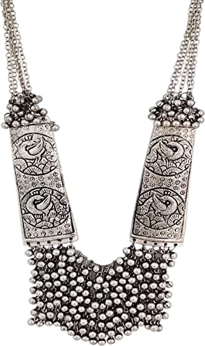Women s German Oxidized Silver Brass Antique Beads Design Crystal Traditional Necklace Set Silver