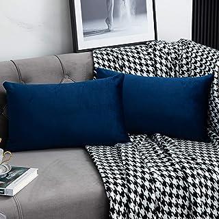 WLNUI Set of 2 Soft Velvet Navy Blue Lumbar Pillow Covers 12×20 Inch Oblong..