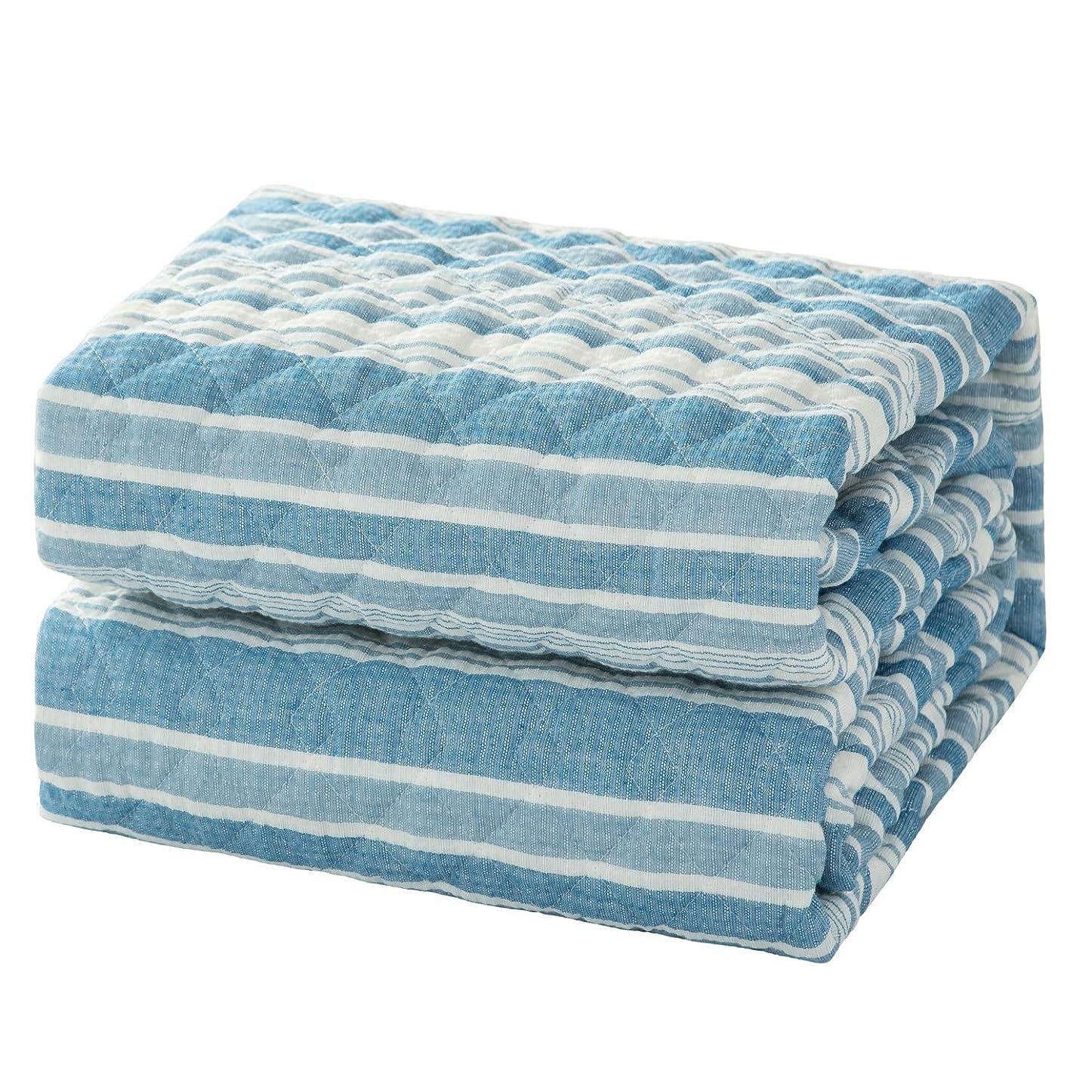 従事する太鼓腹遠えBedsure 敷きパッド 綿 ダブル コットン 100% 夏用 ベッド パッド 洗える ダブルベッド ライト ブルー 先染め しじら織り 和風 防ダニ