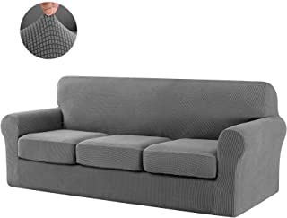 CHUN YI 4-Piece Jacquard High Stretch Sofa Cover,IKEA Ektorp 3 Seater Separate Cushion Universal Sofa Slipcover Replacement Coat, Furniture Protector for Couch and Sleeper Sofa (Sofa, Light Gray)