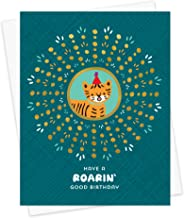 product image for Night Owl Paper Goods Roarin' Tiger Gold Foil Embellished Birthday Card