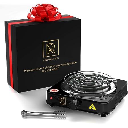 Allume Charbon Chicha Electrique BLACK HEAT (1000W | plaque chauffante chicha charbon naturel | noir) + pinces + grille + câble 140 cm (Noir)