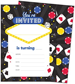 Casino 2 Invitations (25 ct.) Invite Cards Happy Birthday Invitations Invite Cards With Envelopes and Seal Stickers Vinyl Girls Boys Kids Party (25ct)