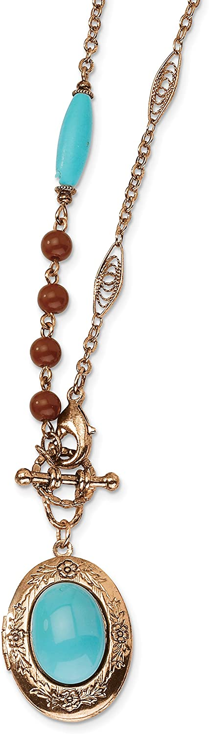 1928 Jewelry Copper-Tone Aqua & Brown Acrylic Beads 16in Locket Necklace