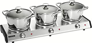 Tramontina 80154/533DS Home Appliances Triple-Hob Electric Buffet Warmer with Stainless Steel Triply Base Cookware, 7 Piece