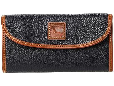 Dooney & Bourke Pebble II Continental Clutch (Black/Brandy Trim) Clutch Handbags