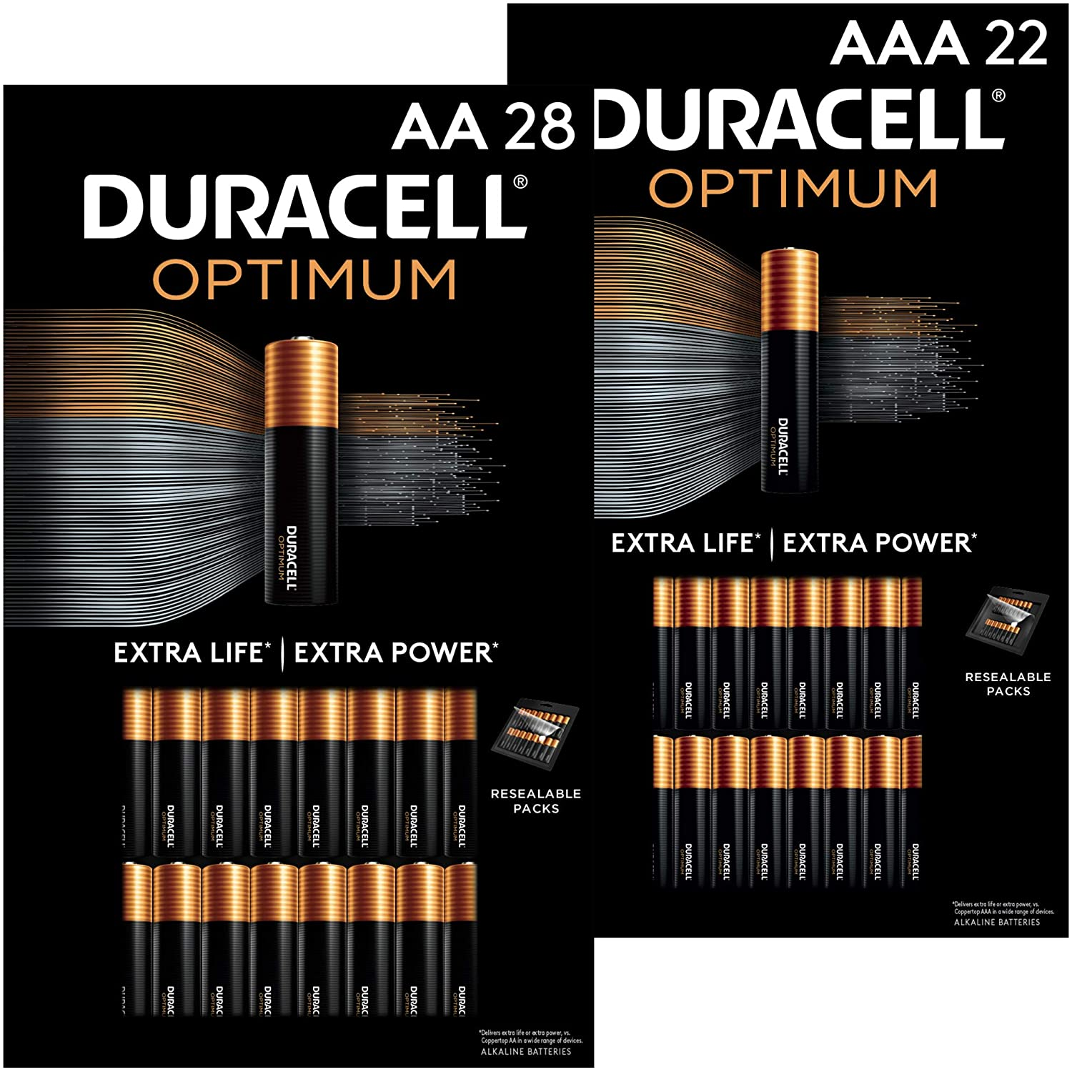 Duracell Optimum AA + AAA Batteries Combo Pack | 28 Count + 22 Count | Lasting Double A & Triple A Battery | Alkaline Battery Ideal for Household and Office | 50 Count Total