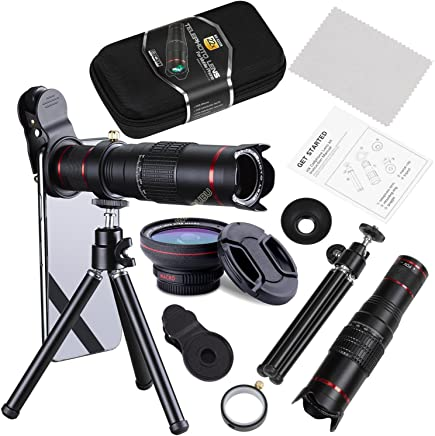 Camera Lens,WMTGUBU 22X 4 in 1 Telephoto Zoom Camera Lens Kit Double Regulation HD Scale Distance FOV Phone Lens Attachment+15X Macro Lens+0.5X Wide Angle Lens Tripod for iPhone Samsung Smartphones (DN0101)