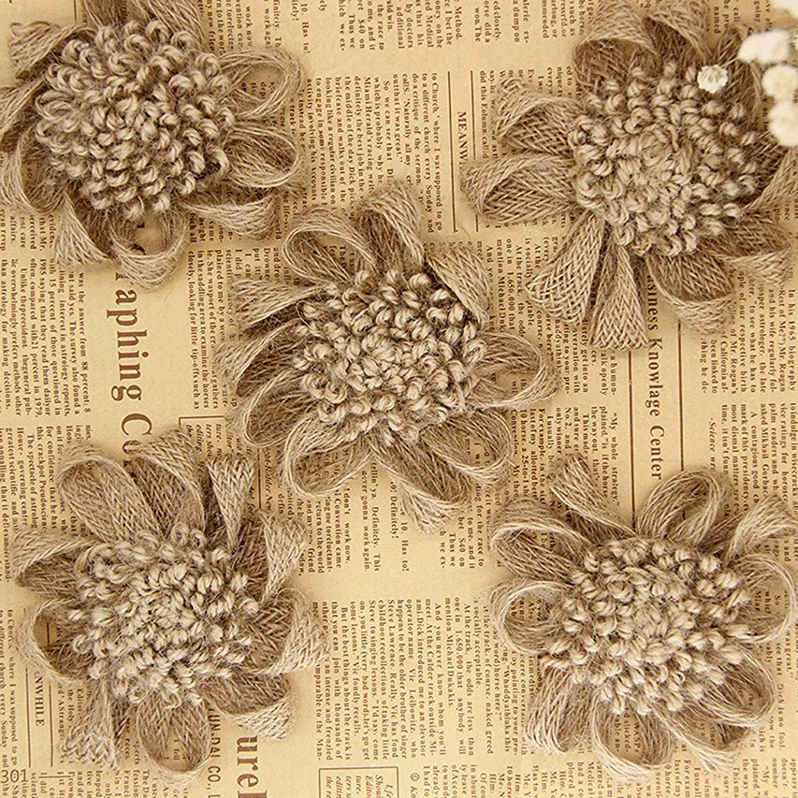 10PCS Burlap Flowers Handmade Crafts Flowers,Natural Hessian Flowers for Handmade Craft Making Wedding and Party Decoration Hair Accessories Scrapbooking (B#)