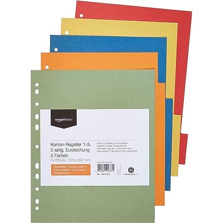 Amazon Basics Intercalaires - Manille recyclée, poinçon Euro, extra-large avec 5 onglets dans 5 couleurs, 24 x 29,7cm, A4, 230 g/m²