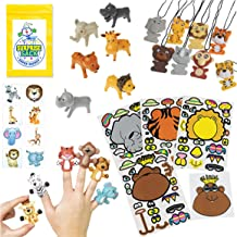 Super Safari Zoo Party Favor Pack - Great Toddler Party Favors, Animal Party Favors, Safari - Jungle Party Favors, and Party Favors for Toddlers (Stickers, Puppets, Figurines, Tattoos, & Necklace)