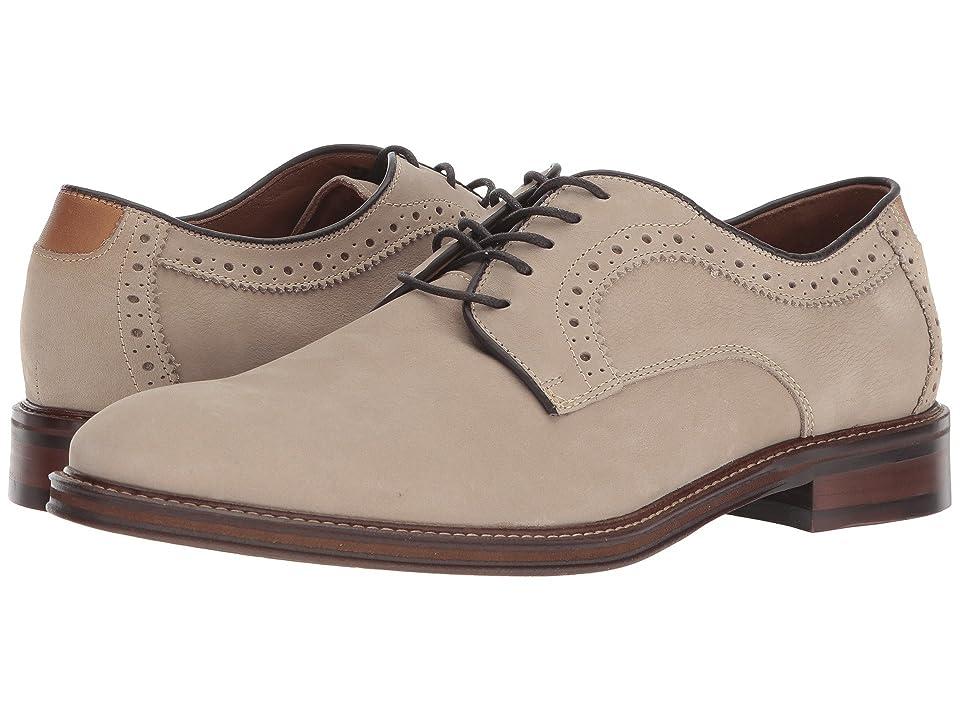 Johnston & Murphy Warner Casual Dress Plain Toe Oxford (Beige Water-Resistant Tumbled Nubuck) Men